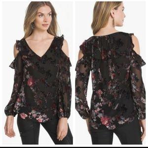 WHBM Floral Velvet Burnout Cold Shoulder Top NWOT